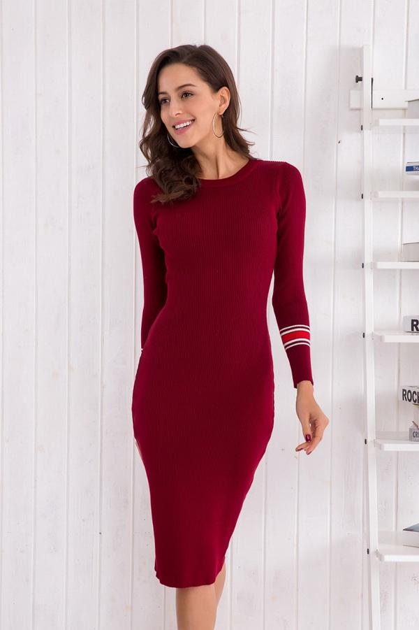 Long-sleeved Knit Bodycon Dress - Pavacat