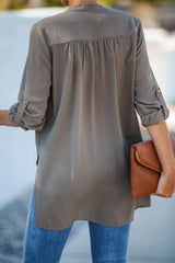 Loose Front-middle Cross Seven-sleeve Shirt - Pavacat