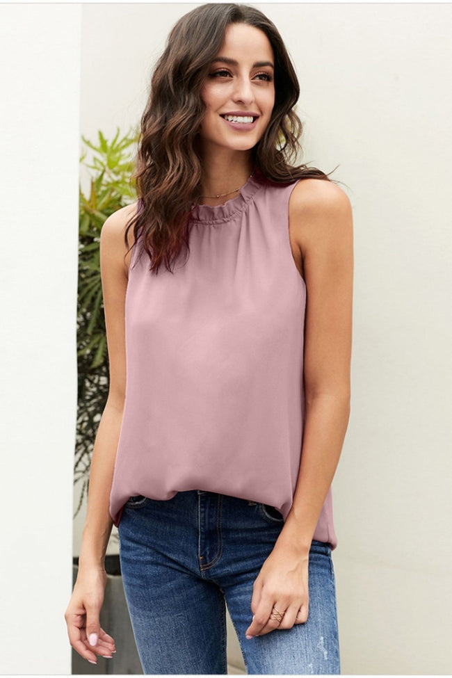 Loose Lace Collar Pleated Tank Top - Pavacat