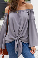 Loose Off-the-shoulder Trumpet Sleeve Shirt - Pavacat