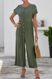 Loose Single-breasted Short-sleeved Jumpsuit - Pavacat