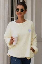 Love Embroidery Loose Plush Pullover - Pavacat