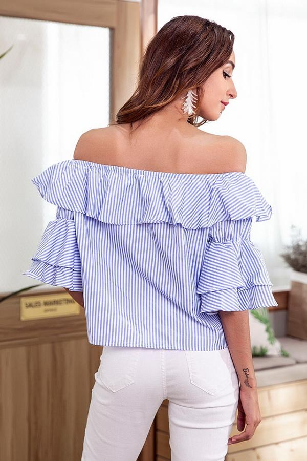 Off Shoulder Flounce Single Breasted Shirt - Pavacat