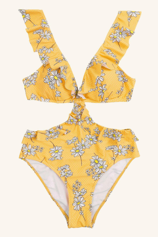 Open Back Ruffle Floral One Piece Swimsuit - Pavacat