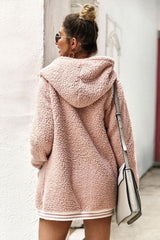 Open Front Fluffy Hooded Coat - Pavacat