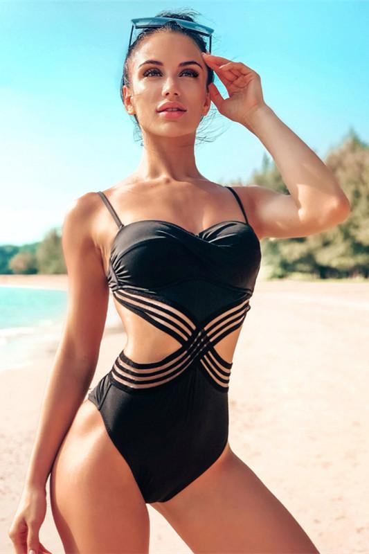 Patchwork Mesh Backless One Piece Swimsuit - Pavacat