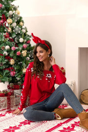Patchwork Off Shoulder Santa Sweatshirt - Pavacat