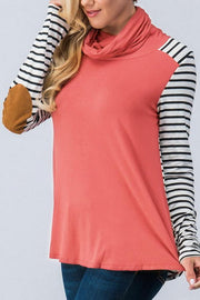 Patchwork Striped Fold Collar Long Sleeve Top - Pavacat