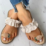 Pineapple Pearl Flat Toe Beach Sandals - Pavacat