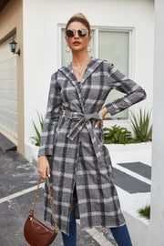 Plaid Tweed Hoodied Coat - Pavacat