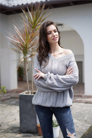 Plain Cable Knit Loose Sweater - Pavacat