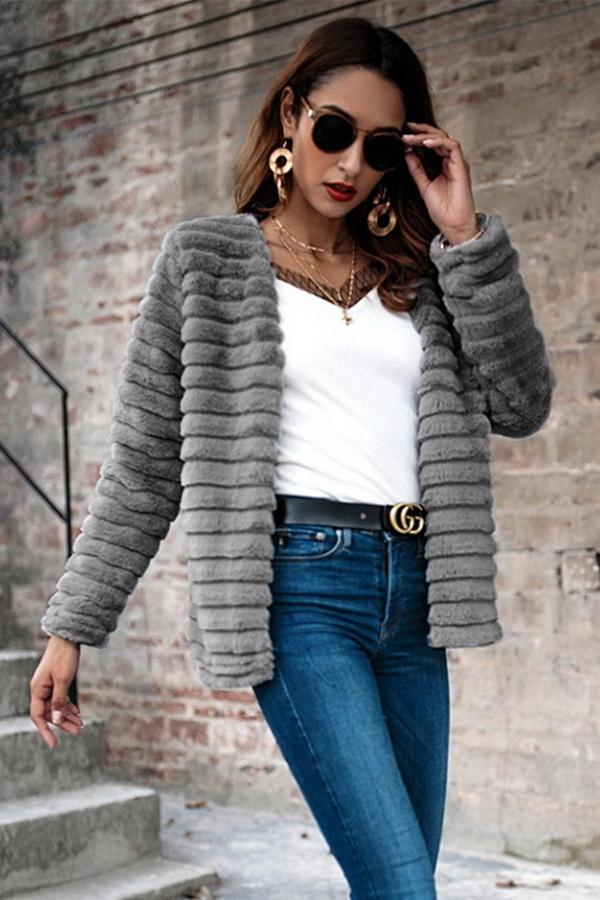 Plain Elegant Faux Fur Coat - Pavacat