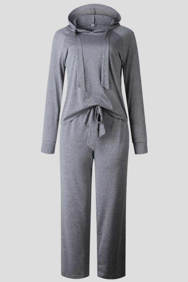 Plain Hooded Top And Pants Set - Pavacat