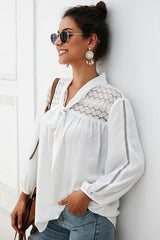 Plain Long-sleeved Chiffon Blouse - Pavacat