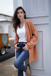 Plain Puff Sleeve Loose Short Cardigan - Pavacat