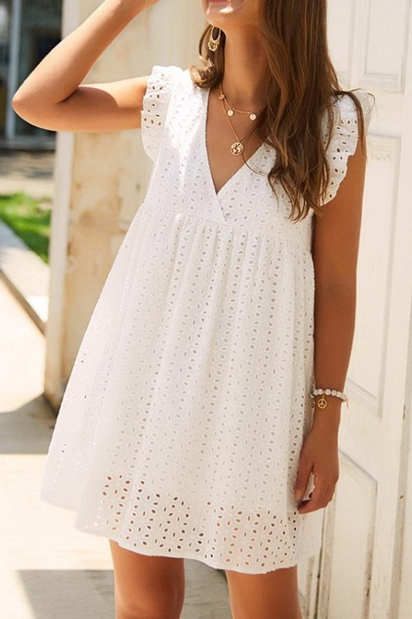 Plain Short Sleeve Lace Dress - Pavacat