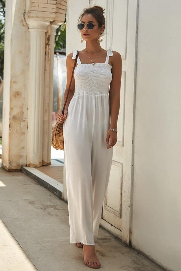 Plain Sleeveless High-waisted Jumpsuit - Pavacat