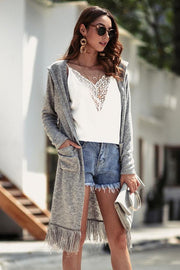 Plain Turn-down Collar Tassel Cardigan - Pavacat