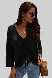 Plain V Neck Lonng Sleeve Sweater - Pavacat