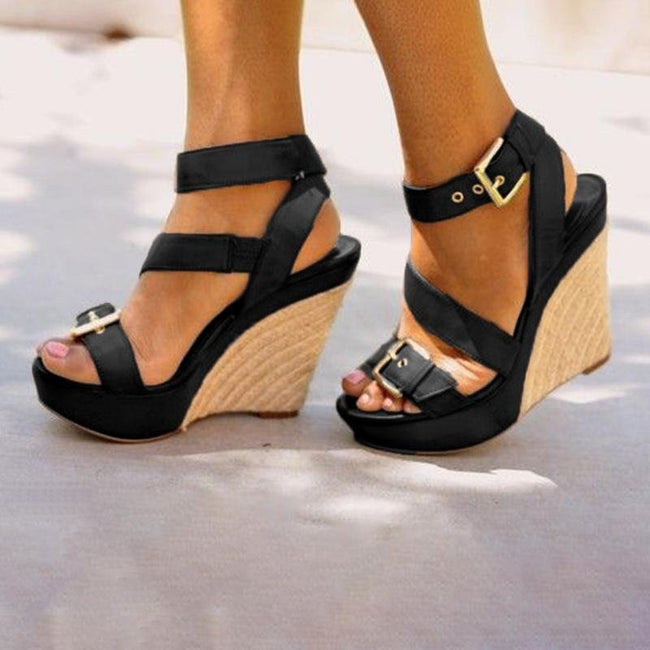 Platform Open Toe Wedge Sandals Casual Comfort Adjustable Buckle Shoes - Pavacat