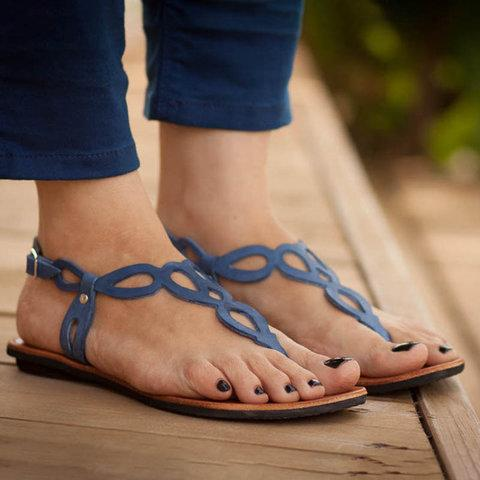 Plus Size Daily Sandals Hollow-out Flat Sandals With Buckle - Pavacat