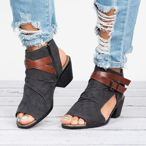 Plus Size Sandals Canvas Peep Toe Zipper Sandals - Pavacat