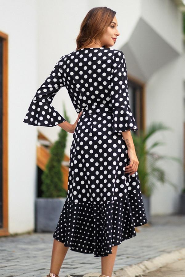 Polka Dot Irregular Belt Dress - Pavacat