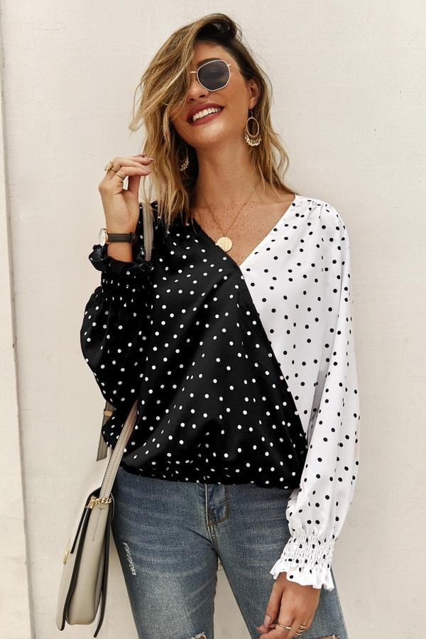 Polka Dot Long Sleeve Blouse - Pavacat