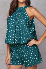 Polka-dot Loose Floral Casual Jumpsuits - Pavacat