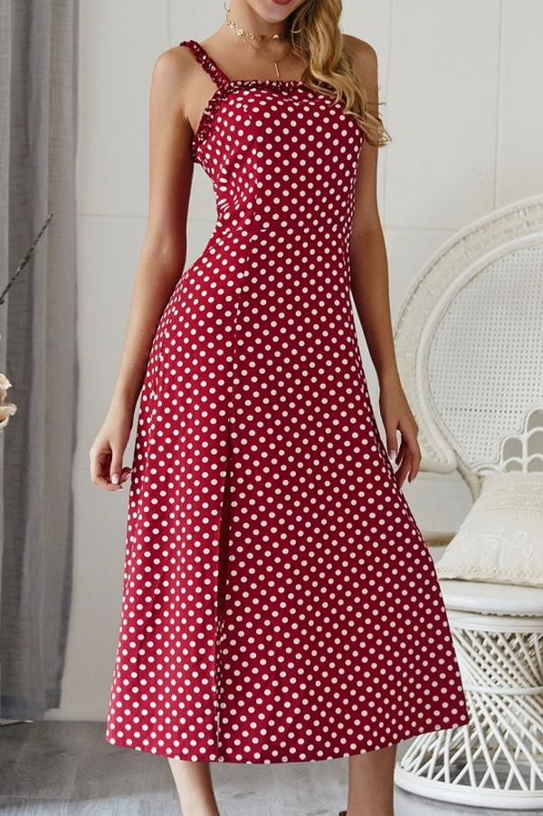 Polka Dot Sleevleess Slit Dress - Pavacat