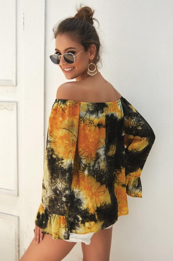 Print Off The Shoulder Loose Blouse - Pavacat