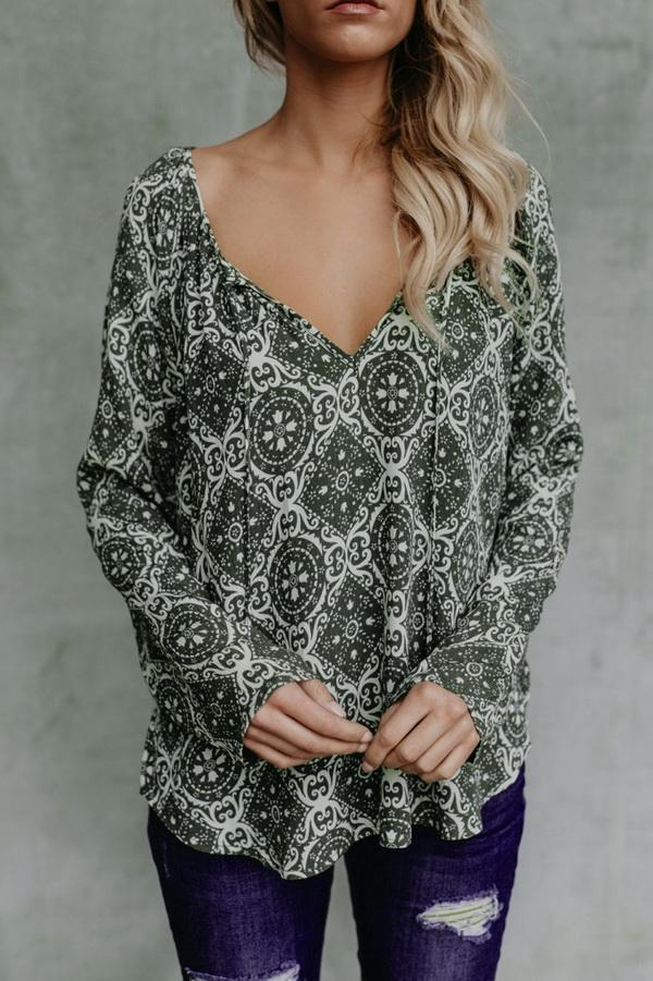 Printed Chiffon V-neck Long-sleeved Shirt - Pavacat