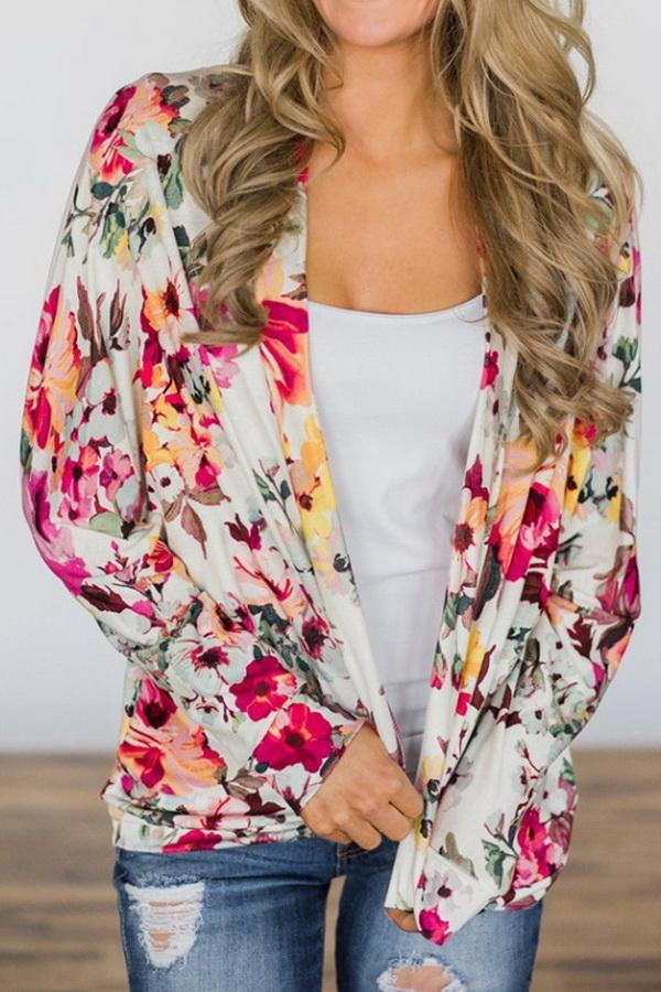 Printed Long Sleeve Loose Cardigan - Pavacat