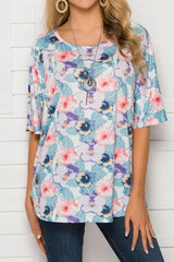 Printed Loose Casual Square Collar Top - Pavacat