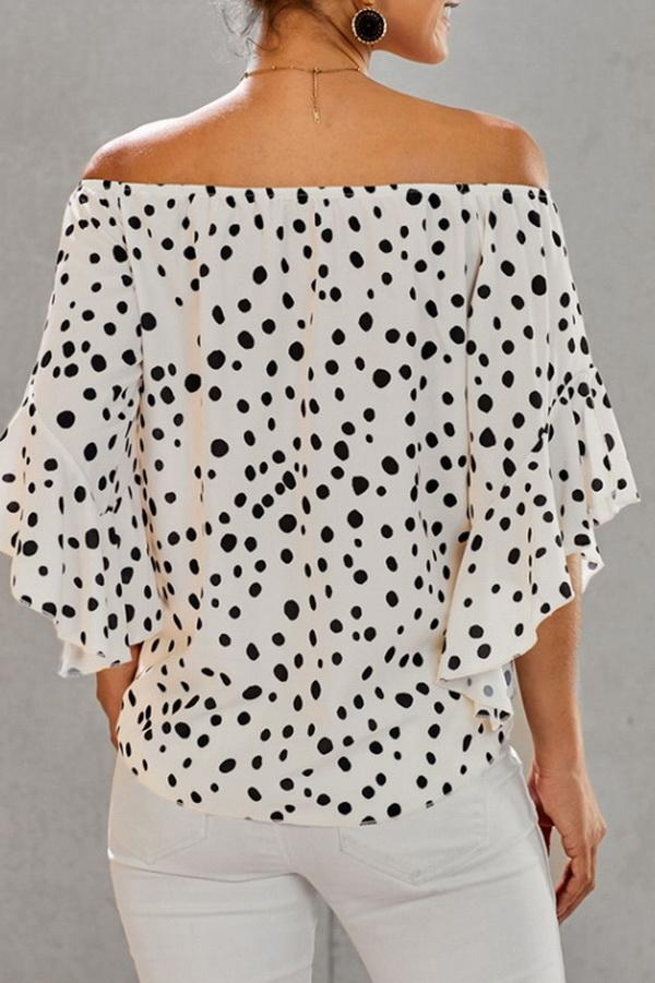 Printed Off-the-shoulder Cropped Sleeves Knotted Top - Pavacat