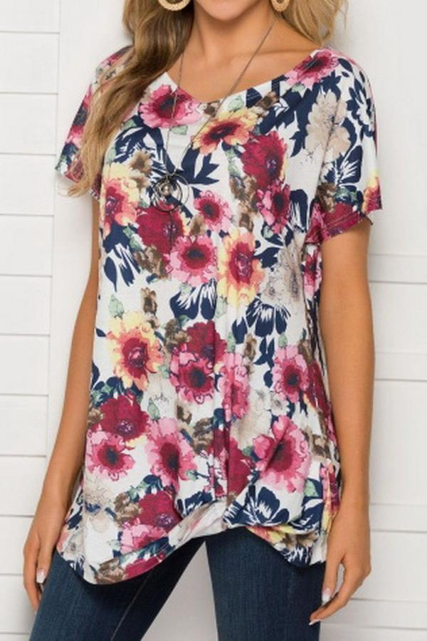 Printed Round Neck Short Sleeve Loose Top - Pavacat