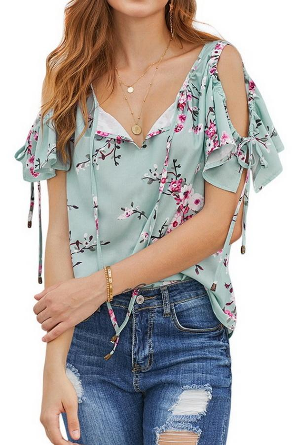 Printed V-neck Strapless Loose Shirt - Pavacat