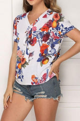 Printed V-neck Top With Short Sleeves - Pavacat
