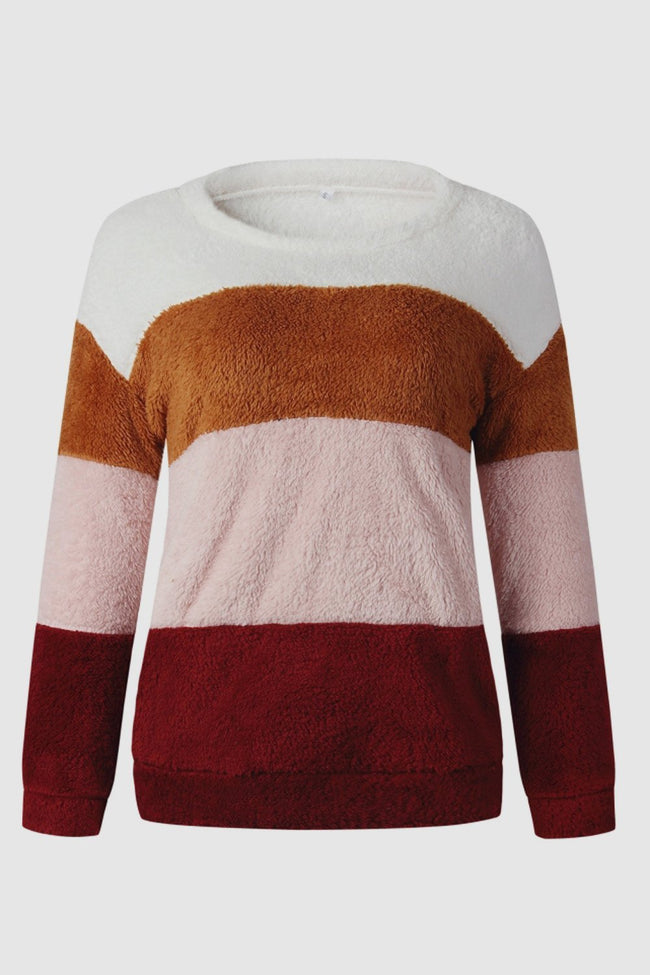 Puffy Color Block Slim Sweatshirt - Pavacat