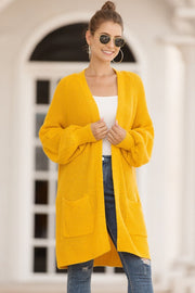 Pure Color Lantern Sleeve Loose Cardigan - Pavacat