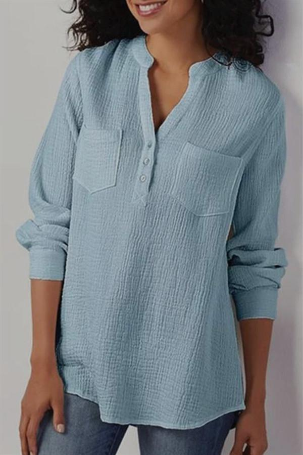 Pure Colour Cotton Flax Loose Shirt - Pavacat