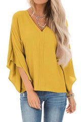 Pure Colour Loose V-neck Bat Sleeve Casual T-shirt - Pavacat