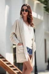 Pure Colour Pockets Loose Cardigan - Pavacat