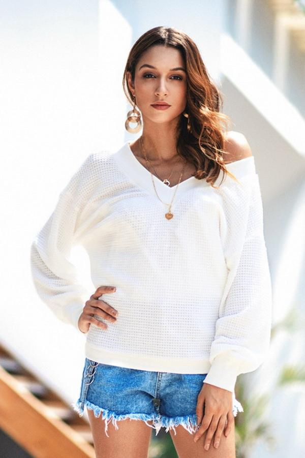 Pure Colour V Neck Loose Sweater - Pavacat