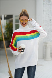 Rainbow Round Neck Loose Sweater - Pavacat