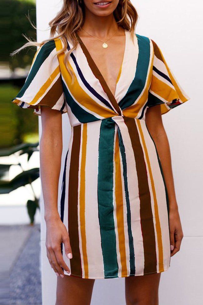 Rainbow Stripe Deep V-neck Dress - Pavacat