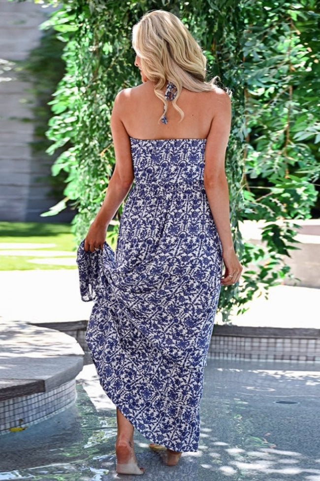 Remember The Days Backless Halter Dress - Pavacat
