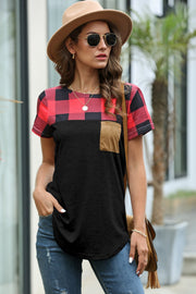Restore Round Neck Plaid T-shirt - Pavacat