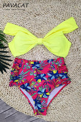 Retro High-waist Off Shoulder Floral Bikini Set - Pavacat