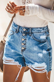 Ripped Hole Push Up Skinny Denim Shorts - Pavacat